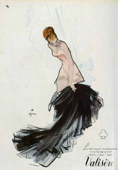 Valisère lingerie ad, 1947, illustration by René Gruau