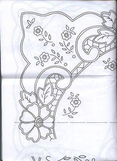 Risultati immagini per cutwork embroidery pattern Silk Ribbon Embroidery, Vintage Embroidery, Embroidery Applique, Embroidery Patterns, Machine Embroidery, Stencil Patterns, Doily Patterns, Lace Beadwork, Parchment Design