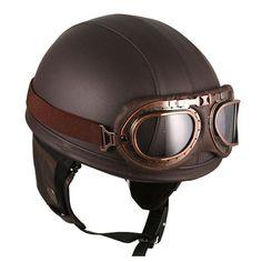 Vintage Leather Brown Biker Helmet by Hanmi