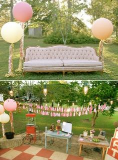 Movie Night Birthday Party {outdoors} - Cozy & elegant w/ couch on the lawn with balloons on streamers! Please do this for birthday! Outdoor Movie Party, Movie Night Party, Backyard Movie, Party Time, Movie Nights, Decor Photobooth, 13th Birthday Parties, Birthday Ideas, 13 Birthday