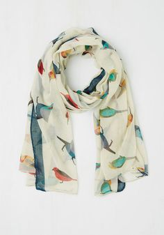 Flight on Time Scarf - Multi Print with Animals Casual White Sheer Woven Critters Bird Woodland Creature Gals Indie Outfits, Fashion Outfits, Cute Scarfs, Cool Style, My Style, Minimalist Wardrobe, Animal Fashion, Vintage Scarf, Cute Fashion