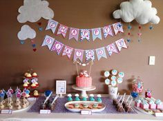 Peppa Pig Dessert Table - Rainy Day theme Love the clouds and heart rain drops!