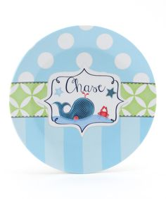 Farmhousefive Art for kids. Blue & Green Whale Personalized Plate.