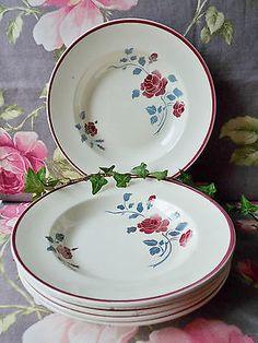 French antiques Badonviller 6 assiettes creuses decor roses anciennes 24cm diam