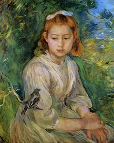 Young Girl with a Bird: 1891 by Berthe Morisot - (Private Collection) - Impressionism