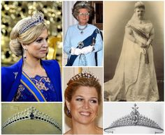 The Mellerio Sapphire Tiara. By Mellerio in 1881, 1st designed in 1867 by Oscar Masin. Part of a parure belonged to Q Emma, a gift from her husband K Willem III in 1881. The center is a brooch that once belonged to Q Anna. This tiara have been altered several times. The large stones on the top are set en tremblant. 31 Kashmir sapphires and 655 brilliant cut, South African diamonds set in platinum. The tiara can be worn in an alternate setting of diamond spikes.