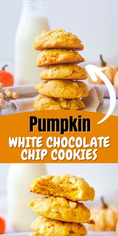 These Pumpkin White Chocolate Chip Cookies are simply perfect for fall and winter and are soft, full of flavour and the perfect fall treat. Delicious Cookie Recipes, Yummy Cookies, Yummy Food, Pumpkin Pie Mix, Pumpkin Dessert, Making Food, Food To Make, Pumpkin Recipes, Fall Recipes