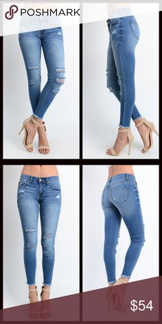 Best Fit Ever My new signature jeans do not disappoint!! Once you get these on you will want to live in them. The most soft and comfortable jeans you will ever own. Distressed skinny jeans with frayed hems and the most amazing stretch!Perfect for Spring a