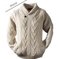 Baby Knitting Patterns Men 02 Shawl Neck Sweater – One Button – White Baby Knitting Patterns, Knitting Designs, Hand Knitting, Hand Knitted Sweaters, Boys Sweaters, Cable Knit Sweaters, Irish Sweaters, Shawl Collar Sweater, Men Sweater