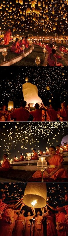 Gasp! Each November the city of Chiang Mai  in Thailand  transforms into the most mesmerizing lantern festival called yi peng  ( second ful...