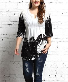 Look what I found on #zulily! White & Black Floral Notch Neck Tunic - Plus #zulilyfinds