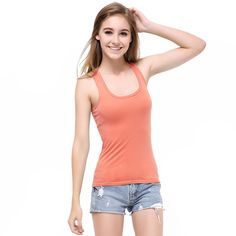 1a1e855be3558e Buy Summer Women Candy Color Tanks Camisole Fitness A T Shirt Top Cotton  Singlet Plus Size Basic Tank Top 6 Sizes Blusas