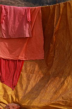 The Art Asylum - hand dyed fabrics in reds, oranges, and golds, lovely