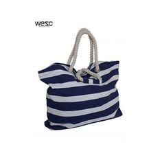 Womens Wesc Corinno Shopping Tote Bag - Blue/White, found on polyvore.com