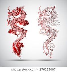 Illustration of traditional chinese dragon illustration # . - Illustration of traditional chinese dragon illustration # Dragon illustration - Red Dragon Tattoo, Small Dragon Tattoos, Dragon Tattoo For Women, Japanese Dragon Tattoos, Dragon Tattoo Designs, Chinese Dragon Drawing, Chinese Tattoos, Dragon Tattoo Outline, Red Chinese Dragon
