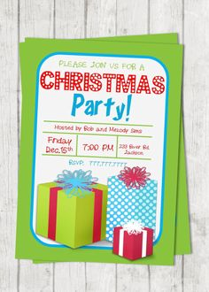Customizable Christmas Party | Class Party | Senior Party | Christmas Holiday Party | Christmas Presents | Retro Invitation Lights Font by PerfectedbyGrace on Etsy