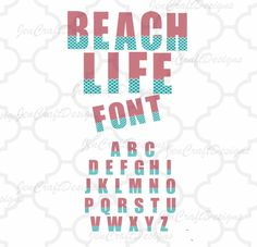 Beach Life Cuttable Monogram Font Set in SVG, EPS and DXF Format for Cricut Explore, Silhouette Cameo and Brother ScanNCut and others Monogram Alphabet, Monogram Fonts, Cutting Tables, Life Design, Jaba, Cricut Explore, Beach, Crafts, Manualidades