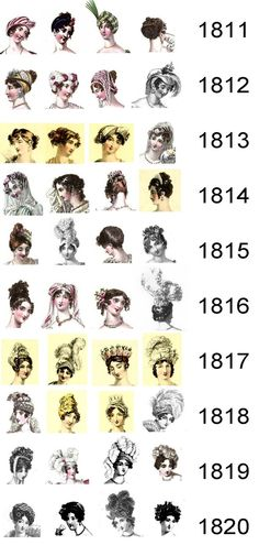 Vintage Hairstyles Retro Regency History: Headdresses and hairstyles for Regency evenings - A pictorial representation of the changing fashions in headdresses and hairstyles for the evening during the Regency period. 1800s Fashion, 19th Century Fashion, Vintage Fashion, Bohemian Fashion, Regency Dress, Regency Era, Historical Costume, Historical Clothing, 1800 Clothing