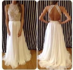Wholesale 2014 Red Carpet Dresses - Buy Vestidos De Fieata Sexy Shiny Summer Evening Gowns High Neck Crystal Beaded White Chiffon Backless L...