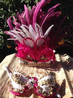 Tahitian & Cook Islands/Rarotongan Costume by TiareOPatitifa Hawaiian Themed Outfits, Hawaiian Costume, Hula, Tahitian Costumes, Tahitian Dance, Polynesian Dance, White Feathers, Cook Islands, Dance Costumes