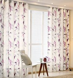 "Pair of Purple Lily Printed Curtains 46"" Width x 54"" Drop Supersoft Polyester Fabric Curtains Ready Made Eyelet Rings Easy to install HST http://www.amazon.co.uk/dp/B01AHJ0DR8/ref=cm_sw_r_pi_dp_uAw8wb05JK45P"