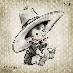 Vintage Greetings Card Baby Boy Cowboy LARGE Digital Vintage Image Download…
