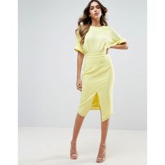 ASOS Wiggle Dress with Split Front ($51) ❤ liked on Polyvore featuring dresses, yellow, zip dress, calf length dresses, scoop neck dress, wiggle pencil dress and yellow dress