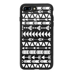 Modern white hand drawn aztec geometrical pattern - iPhone 7 Plus Case... ($39) ❤ liked on Polyvore featuring accessories, tech accessories, iphone case, aztec print iphone case, clear iphone case, apple iphone case, white iphone case and iphone cases