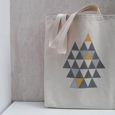 Tote bag canvas cotton with gold and silver handprinted triangles