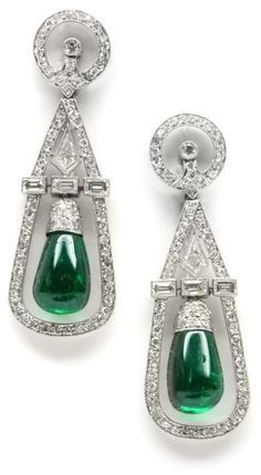 Art Deco emerald and diamond earrings by Cartier, circa 1935.