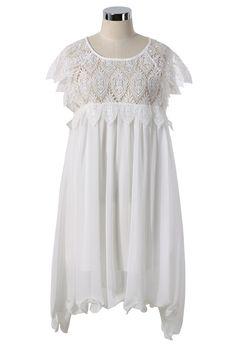 White Leaf Lace Hollow Chiffon Dress