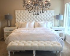White Velvet Extra Large King Diamond Tufted Headboard, Bed Frame and Bench Set (Large King, Extra Long) - Bedroom Decor ideas Home Bedroom, Bedroom Furniture, Master Bedroom, Bedroom Decor, Bedroom Ideas, Dream Bedroom, White Bedroom Set, Bedroom Designs, Pink And Silver Bedroom
