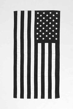 Black & White American Flag Beach Towel | Urban Outfitters