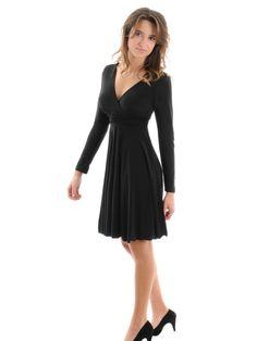 1a241fdfe8e Womens Sexy Little Black Dress V-Neck Long Sleeve Empire Waist a-line Sizes   Large