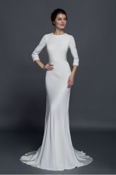 Real Silk Crepe Gown with 3/4 Sleeves and Ribbon Belt
