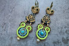 Soutache earrings with jasper by AnnaZukowska on Etsy