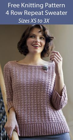 Free Knitting Pattern for 4 Row Repeat Vandalia Sweater - Ballet neck pullover knit flat with 4 row repeat. Sizes XS, S, M, L, Chest: 58 inches. Designed by Berroco Design Team. Sweater Knitting Patterns, Free Knitting, Baby Knitting, Lace Cardigan, Long Sleeve Sweater, Top Pattern, Free Pattern, Aran Weight Yarn, Knit Dress