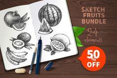 Sketch Fruits Bundle Sale 50% by Elena Pimonova on @creativework247