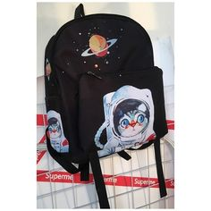 Lovely Cartoon Astronaut Cat Pattern Simple Retro Backpack featuring polyvore, women's fashion, bags, backpacks, cat print bag, daypack bag, day pack rucksack, cartoon bag and comic backpack