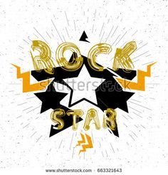 Rock star design for t-shirt. Grunge background. Vector Illustration eps10.
