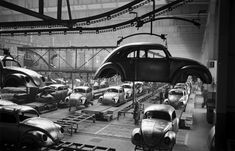 Scene at Volkswagen's main plant in Wolfsburg, Germany (July 1951)