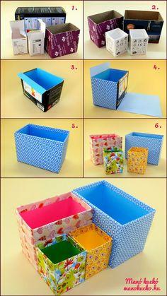 Kartondobozból kreatívan tároló készítése