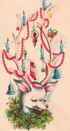 xmas vintage card reindeer | jancureall | Flickr