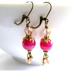 SALE, Pink Jade Earrings, Gemstone Earrings, Rose Gold Crystal... ($22) ❤ liked on Polyvore featuring jewelry, earrings, pink jewelry, gem earrings, rose gold earrings, pink crystal earrings and jade earrings