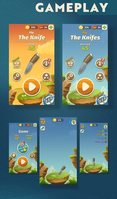 """Game """"Flip the Knife"""" UI and design on Behance"""
