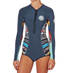 Rip Curl Wetsuits - Rip Curl Womens G Bomb 1mm Front Zip Long Sleeve Shorty Wetsuit - Blue
