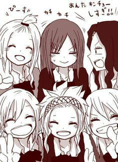 Lucy, Levy, Lisanna, Mirajane, Erza, Cana; Fairy Tail