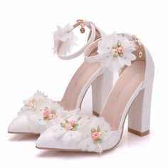 51f2942b1a6 Modern   Fashion White Outdoor   Garden Womens Shoes 2018 Appliques Ankle  Strap 10 cm Thick Heels Pointed Toe High Heels