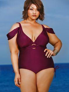 "Monif C Merlot ""Anguilla"" Plus Size One Piece Swimsuit"