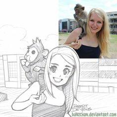Mädchen mit Affe